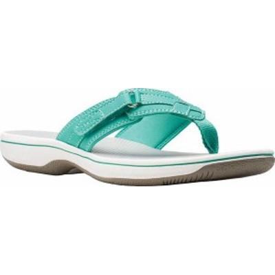 クラークス レディース サンダル シューズ Women's Clarks Breeze Sea Flip Flop Green Synthetic