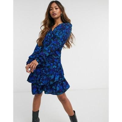 リバーアイランド レディース ワンピース トップス River Island floral print ruffle hem mini tea dress in blue
