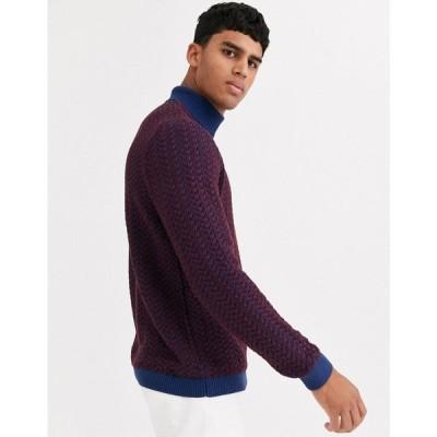 エイソス ASOS DESIGN メンズ ニット・セーター トップス muscle fit roll neck jumper in burgundy and blue plait バーガンディ