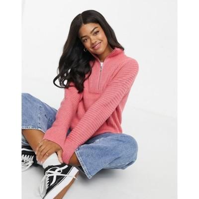 フレンチコネクション レディース ニット&セーター アウター French Connection half zip sweater in rose Desrt rose