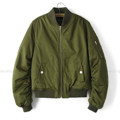MA-1 フライトジャケット 中綿入り レディース ブルゾン 秋 冬 MA1 リブ付きブルゾン 防寒 ポケット シッパー2タイプ選べる