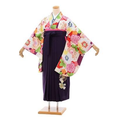 卒業式袴レンタル h675  クリーム色地 梅菊 x パープル袴