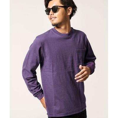 【シルバーバレット】 Goodwearヘビーウェイトポケット付きビッグシルエットクルーネック長袖Tシャツ メンズ パープル S SILVER BULLET