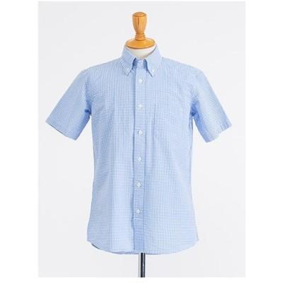 半袖 サッカー ギンガムチェック ボタンダウンシャツ(ブルー)【TEIJIN MEN'S SHOP】
