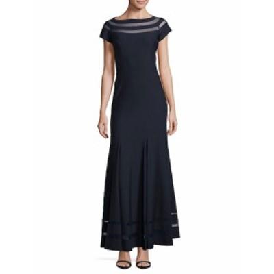 JS コレクションズ レディース ワンピース Ottoman and Mesh Insert Floor-Length Dress