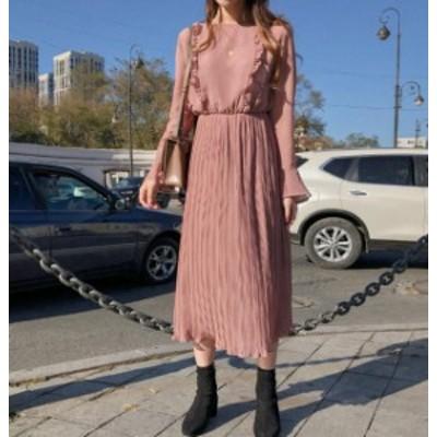 韓国 ファッション レディース ワンピース シフォン ロング ハイウエスト フレア 透け感 フリル 大きいサイズ 長袖 きれいめ 上品 フェミ