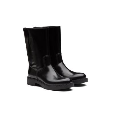 プラダ PRADA アンクルブーツ ブーツ シューズ 靴 ブラック ブラッシュドレザー ミッドカーフ