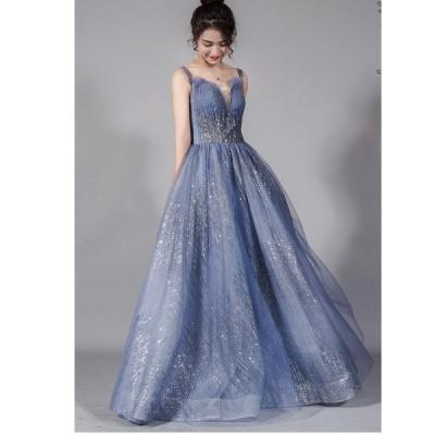 ロングドレス 二次会 Aラインドレス ウエディングドレス 発表会 女子会 結婚式ドレス 演奏会 2020新作 パーティードレス お呼ばれ