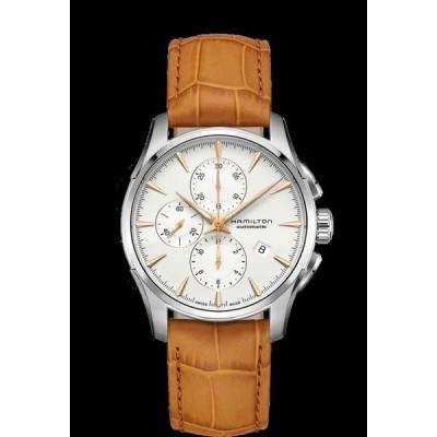 ハミルトン 腕時計 New Hamilton Jazzmaster Auto Chrono White ホワイト Dial Leather Band Men Watch H32586511