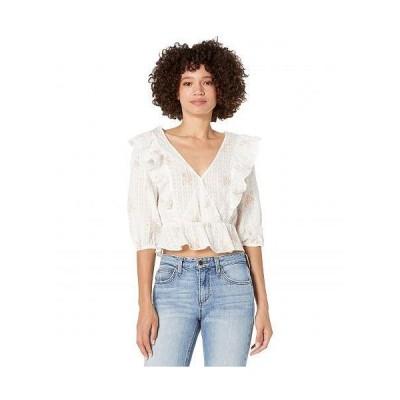 BCBGeneration ビーシービーゲネレーション レディース 女性用 ファッション ブラウス Ruffle Sleeve Surplice Top 1TX1T34 - Off-White