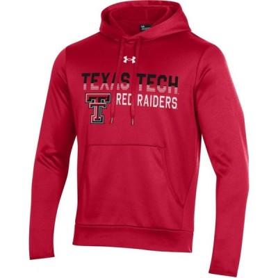 アンダーアーマー Under Armour メンズ パーカー トップス Texas Tech Red Raiders Red Armour Fleece Pullover Performance Hoodie