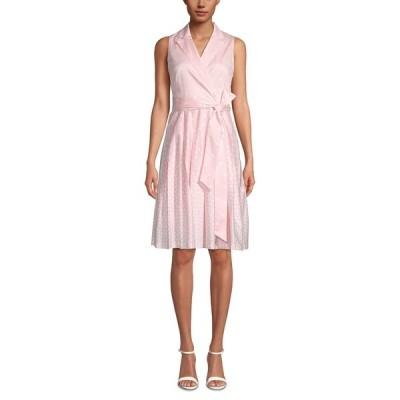 アンクライン ワンピース トップス レディース Notch-Collar Wrap Dress Blossom Pink/White