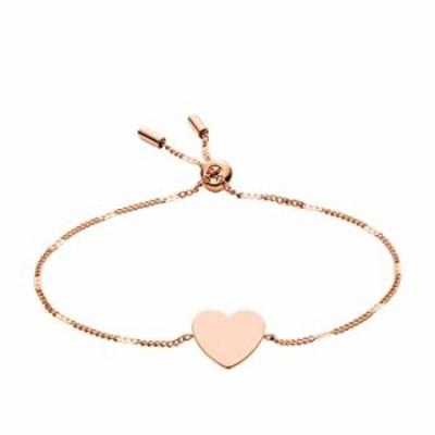 Fossil Women's Heart Rose Gold-Tone Steel Bracelet, One Size