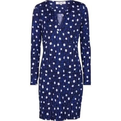 ダイアン フォン ファステンバーグ Diane von Furstenberg レディース ワンピース ワンピース・ドレス Reina polka-dot silk jersey minidress Dot New Navy