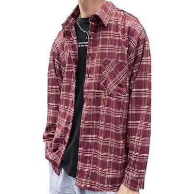 3カラー シャツ チェックシャツ 長袖 ネルシャツ 羽織 胸ポケット ラフ ゆったり メンズ(レッド, S)