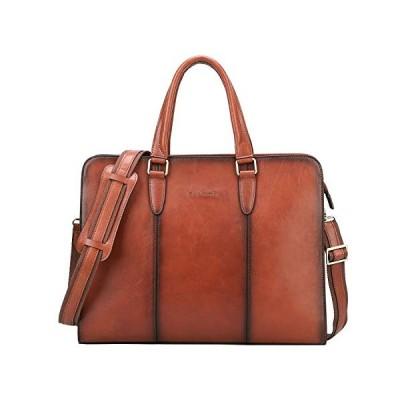 """Banuce Vintage Full Grain Leather Briefcase for Women Business Work Tote Handbag Attache Case 14"""" Laptop Shoulder Messenger Bag, Brown 並行輸入品"""