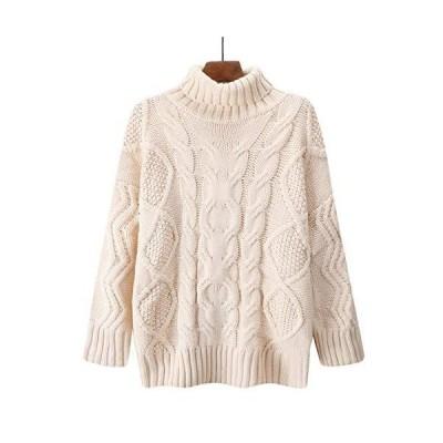 [ディーハウ]レディース ニットトップス ケーブル編み 長袖 セーター カットソー 秋冬 可愛い カジュアル オシ