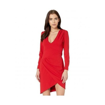 BCBGMAXAZRIA ビーシービージーマックスアズリア レディース 女性用 ファッション ドレス Long Sleeve V-Neck Dress - Burnt Red
