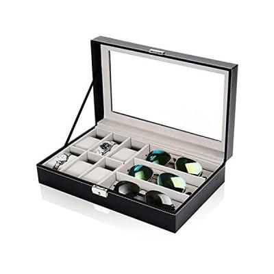 GK083 ディスプレイウォッチボックスとサングラスオーガナイザー 6つの時計ホルダージュエリーケースと3つのスロット 眼鏡サングラスオーガナイザー