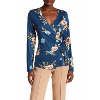 Bobeau ボビュ ファッション トップス Bobeau Womens Blue Size Small S Long Sleeve Floral-Print Faux Wrap Top