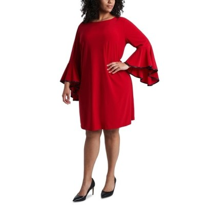 ミスク ワンピース トップス レディース Plus Size Faux-Leather-Piped Bell-Sleeve Shift Dress Red