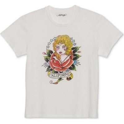 エドハーディー Ed Hardy レディース Tシャツ トップス Cotton California-Graphic Boyfriend T-Shirt Off White
