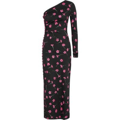 マルシア MARCIA レディース パーティードレス ワンショルダー ワンピース・ドレス Nour Floral-Print One-Shoulder Dress Black