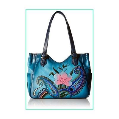 Anna by Anuschka Women's Leather Shoulder Bag, Hand-Painted Original Artwork, Denim Paisley Floral並行輸入品