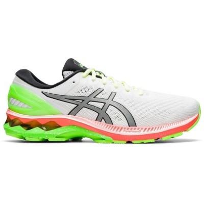 アシックス スニーカー シューズ メンズ ASICS Men's Kayano 27 Run In Color Running Shoes White/Bright Green