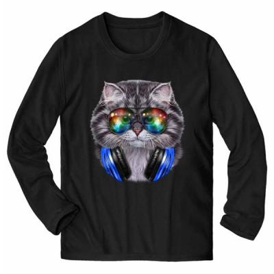 【グレー 猫 ねこ サングラス ヘッドフォン】メンズ 長袖 Tシャツ by Fox Republic