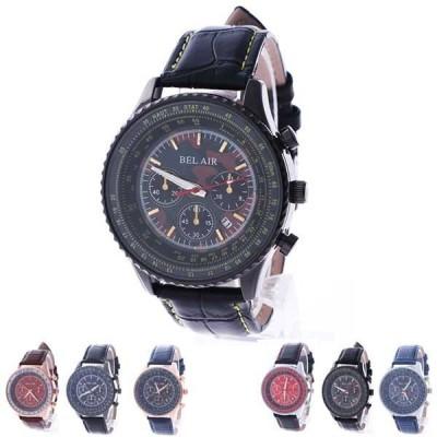 腕時計ビッグフェイスメンズレザーベルトユニセックス防水カレンダーBelAirCollectionゴールドブルーブラウン