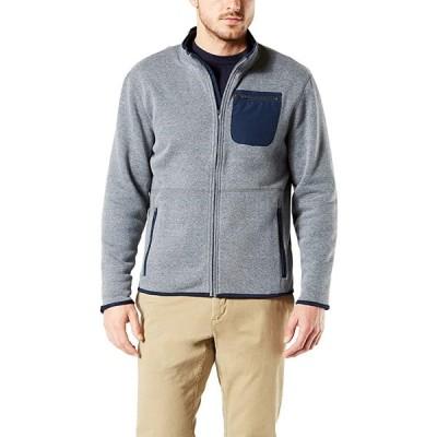 Dockers メンズ ロング スリーブ Full ジップ セーター, Gravel ヘザー, スモール(海外取寄せ品)