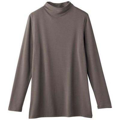 スマートヒートボトルネックTシャツ(静電気防止・吸湿発熱・吸汗速乾)/グレイッシュブラウン/S