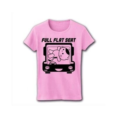 フルフラットシート車とねこ リブクルーネックTシャツ(ライトピンク)