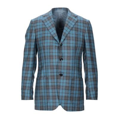 KITON テーラードジャケット アジュールブルー 48 カシミヤ 74% / シルク 18% / リネン 8% テーラードジャケット