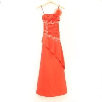 カラードレス パーティードレス ノースリーブ レッド レディースファッション サイズ F【kk】【中古】