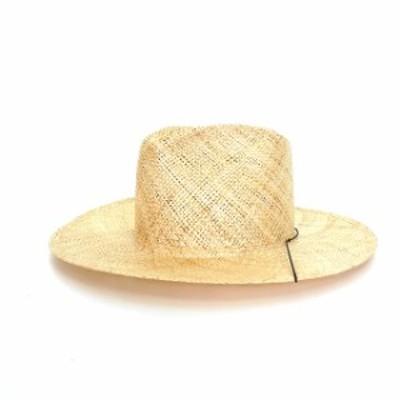 【中古】未使用品 ジャネッサレオン JANESSA LEONE ストローハット 麦わら 帽子 M ライトベージュ SS19079 レディース