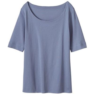 デコルテ美人Tシャツ5分袖/ブルーフォグ/M