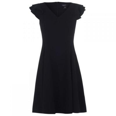 ディーケーエヌワイ DKNY Occasion レディース ワンピース ノースリーブ ワンピース・ドレス Ruffle Sleeveless Crepe Dress BLK: Black