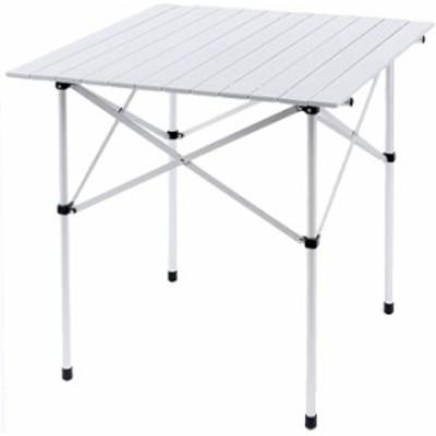 アウトドアテーブル ロールテーブル 折り畳み式 テーブル アルミ製 ロール式天板 収納袋付き キャンプ BBQテーブル (シルバー 70cmX70cmX
