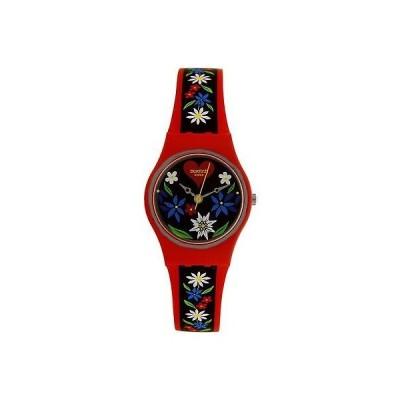 腕時計 スウォッチ Swatch Women's Originals LR129 Red Silicone Swiss Quartz Fashion Watch