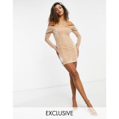 エイス アワー EI8TH HOUR レディース ワンピース ミニ丈 ワンピース・ドレス Ei8Th Hour Long Sleeved Bardot Velvet Mini Dress In Caramel キャラメル