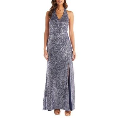 モーガン ワンピース トップス レディース Sequin Halter Gown Lavender/ Navy