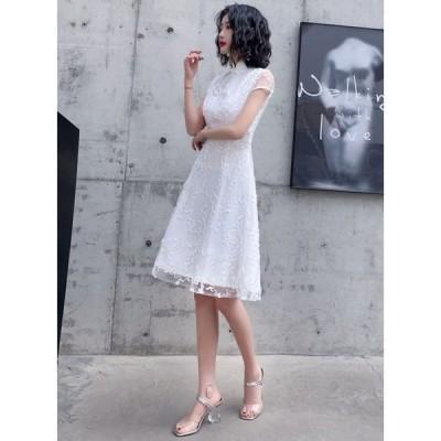 春夏 ドレス チャイナドレス 白ドレス ワンピース 半袖 レース Aライン ひざ丈 透け感 結婚式 二次会