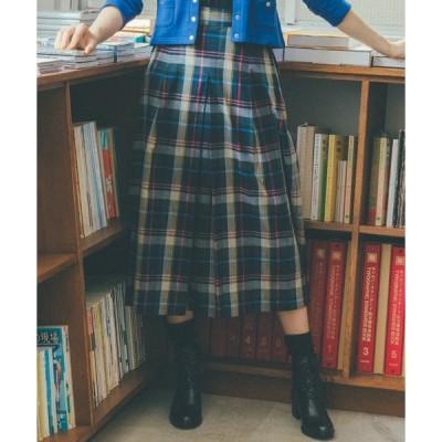 スカート WP77 JUPE チェックミモレ丈スカート