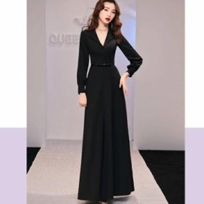パーティードレス 結婚式 お呼ばれドレス 20代 30代 40代 袖あり ロング 黒ロングワンピース 大きいサイズ ぽっちゃり服 ぽっちゃり系