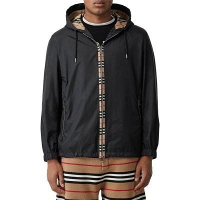 バーバリー BURBERRY メンズ ジャケット フード アウター Everton Icon Stripe Nylon Hooded Jacket Black
