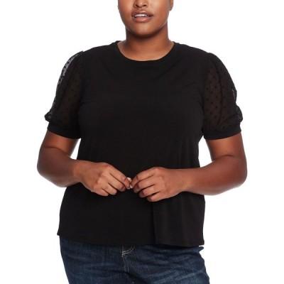 シーシー CeCe レディース トップス 大きいサイズ Plus Size Puff-Sleeve Mixed-Media Top Rich Black