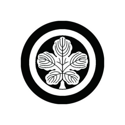 家紋シール 白紋黒地 丸に立ち梶の葉 布タイプ 直径23mm 6枚セット NS23-0817W