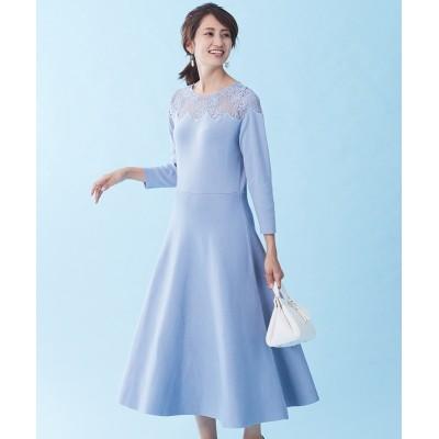 【大きいサイズ】 スタクロ 8分袖スカラップ刺しゅうレース切替ニットワンピース ワンピース, plus size dress
